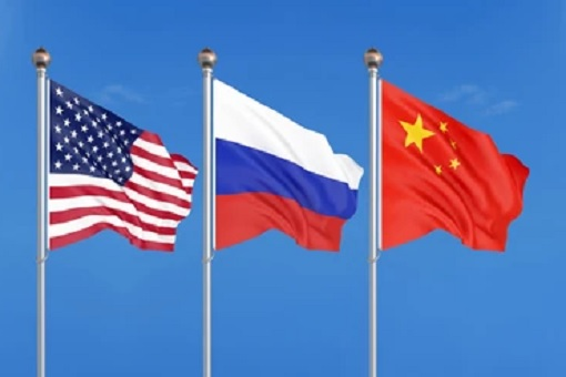 Flags - United States, Russia and China