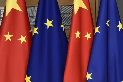 European Union and China Flags