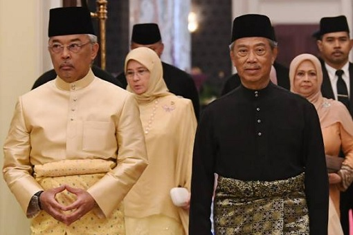 Agong King Sultan Abdullah and Prime Minister Muhyiddin Yassin