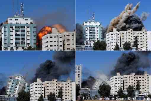 Israel-Hamas-Palestine Conflict War - Al-Jala International Media Building Destroyed