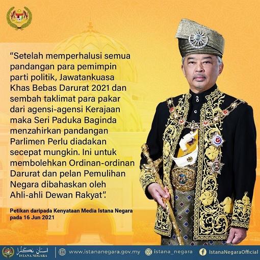 Agong King Sultan Abdullah - Decree To Reconvene Parliament - Poster