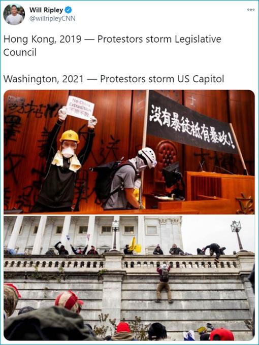 CNN Will Ripley - Hong Kong 2019 Protestors vs Washington 2021 Protestors - Photos