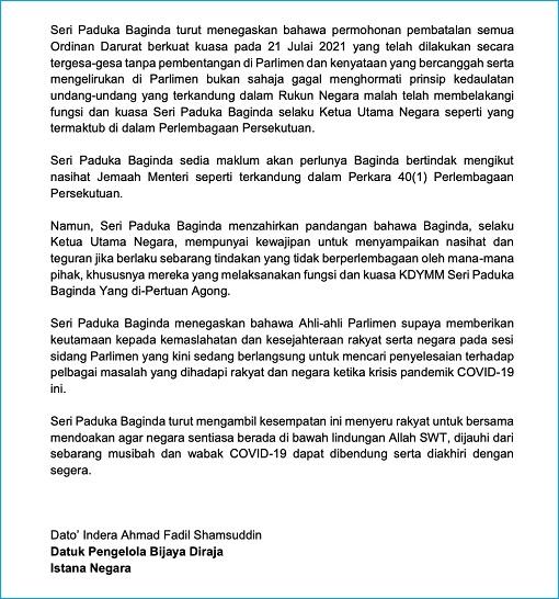 Agong King Royal Statement - 29July2021 - Anger Over Muhyiddin Treason - 2