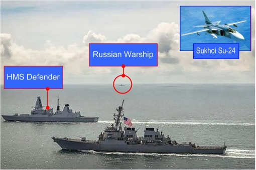 Russia-Britain Confrontation - Warning Shot and Su-24 Drops Bombs - HMS Defender