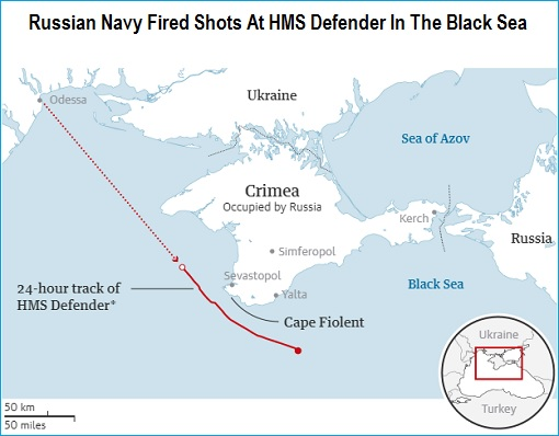 Russian Navy Fired Shots At British HMS Defender In The Black Sea - Map