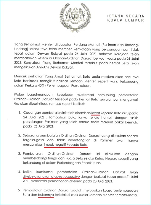 Agong King Royal Letter Dated 29July2021 - Decree To Debate And Vote Emergency Revocation in Parliament - 3