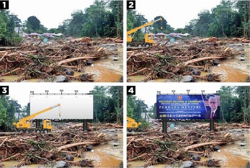 Kedah Flood - Billboard To Welcome and Congratulates PM Ismail Sabri - The Construction Process