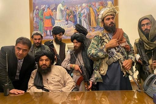 Talibans At Desk Of Afghan President Ashraf Ghani