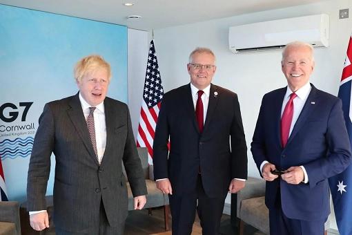 G7 Summit Cornwall Britain - Boris Johnson, Scott Morrison and Joe Biden