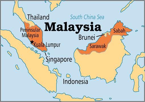 Peninsular Malaysia and Sabah and Sarawak - Map