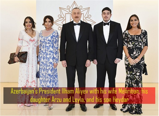Azerbaijan's President Ilham Aliyev with his wife Mehriban, his daughter Arzu and Leyla, and his son Heydar
