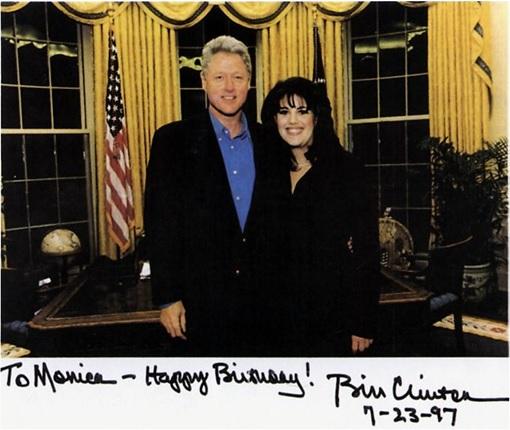 Bill Clinton and Monica Lewinsky - Old Photo - Birthday Wish to Monica