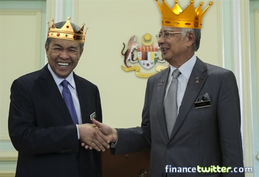 PM Najib and Deputy PM Zahid Wear Crowns