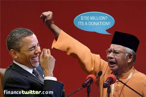 Najib Declare 700 Million As Donation - Obama Laugh