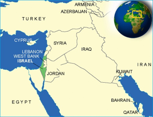 Israel Surrounded by Muslim Countries - Map