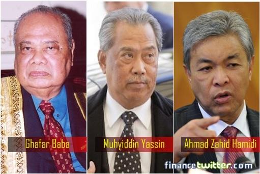 Malaysian Deputy Prime Ministers - Ghafar Baba, Muhyiddin Yassin, Ahmad Zahid Hamidi