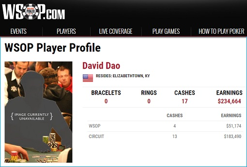 United Airlines - David Dao Poker WSOP Profile Earning