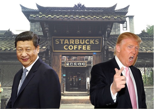 US-China Trade War - Starbucks - Donald Trump and Xi Jinping