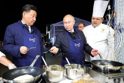 Eastern Economic Forum (EEF) in Vladivostok Russia - President Xi Jinping and President Vladimir Putin Cooking