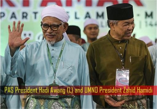 PAS President Hadi Awang and UMNO President Zahid Hamidi - Smiling and Waving