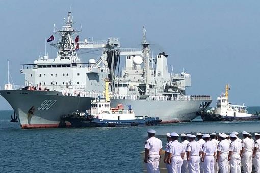 China Warships Dock At Cambodia
