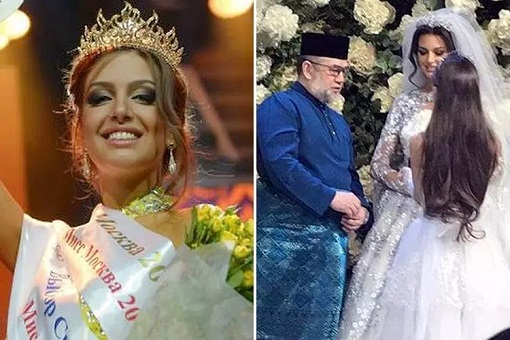 Malaysia King - Sultan Muhammad V - Married Miss Moscow Oksana Voevodina - Wedding Gown 2