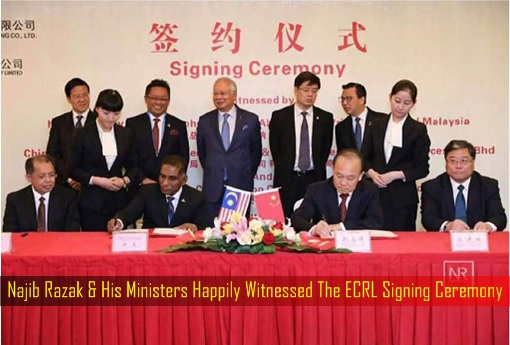 Najib Razak and His Ministers Happily Witnessed The ECRL Signing Ceremony