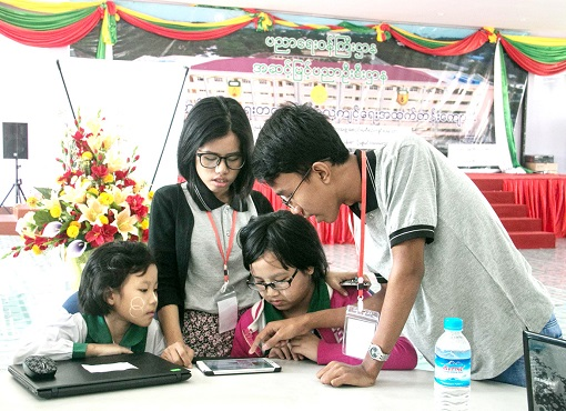 Myanmar STEM Staff Teaches Basic Computer Programming to Students