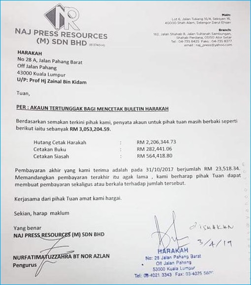 PAS Harakah Newspaper Owed Printing NAJ Press Resources RM3 Million