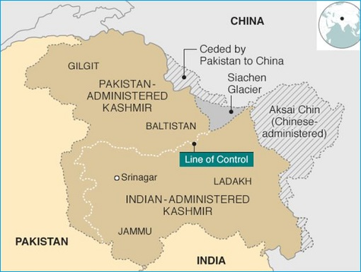 Indian-administered Kashmir and Pakistan-administered Kashmir - Map