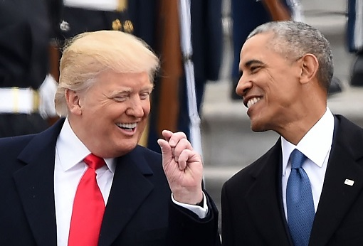 President Donald Trump and President Barack Obama - Laughing