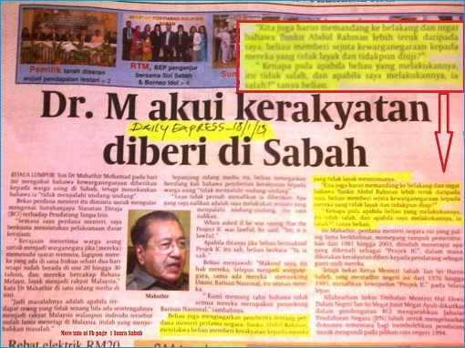 Mahathir Project IC in Sabah - Newspaper Cutting - Admission
