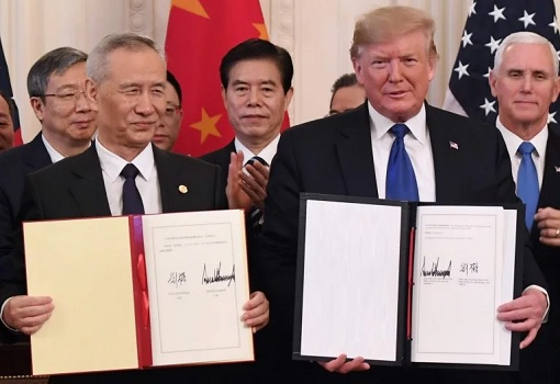 Phase One US-China Trade Deal - Signing - Donald Trump and Liu He