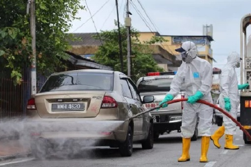 Coronavirus - Malaysia Authorities Spraying and Disinfect Roads