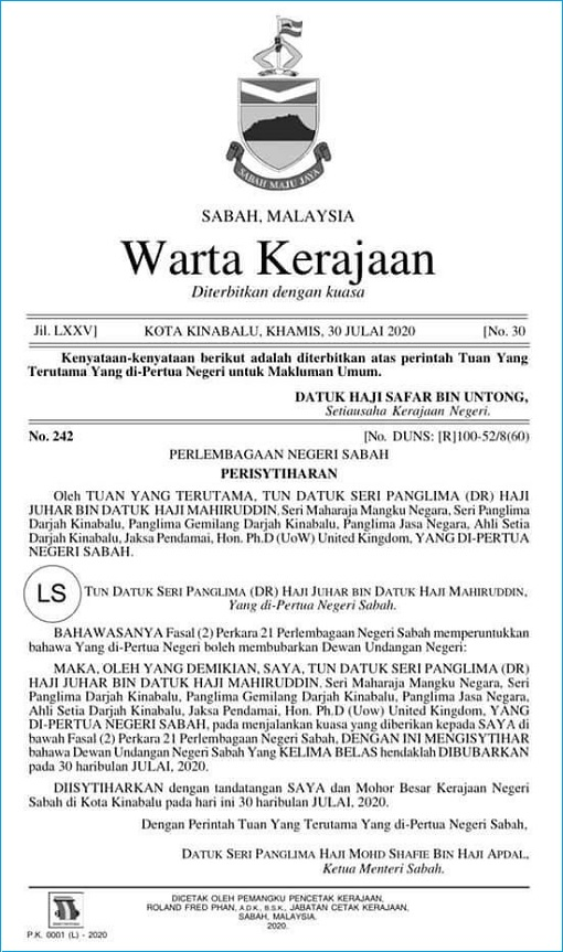 Sabah State Gazette Letter - Dissolve the Legislative Assembly 2020