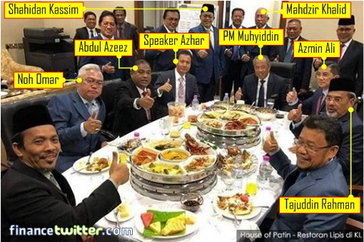 Muhyiddin and MPs - Expensive Lobster Lunch - Speaker Azhar Art Harun and Crooks