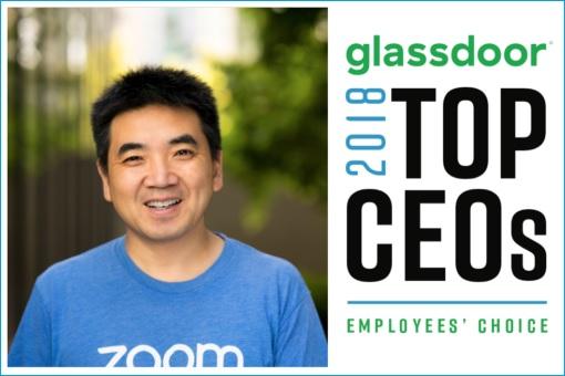 Zoom CEO Eric Yuan - Glassdoor Top CEO 2018 Award - Employees Choice